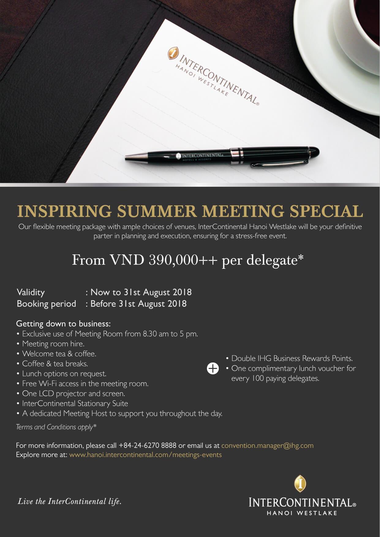 InterContinental Hanoi Westlake: Summer meeting package